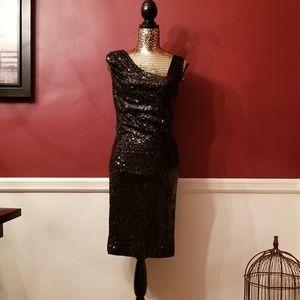 Calvin Klein One Shoulder Sequin Cocktail Dress